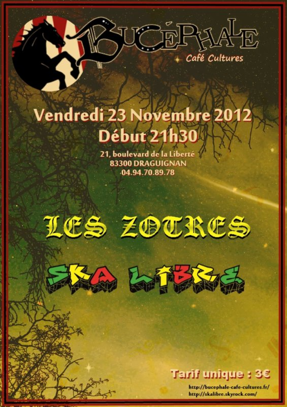 23 NOV. 2012  SKA LIBRE &amp; LES Z'TRES en concert au BUCEPHALE