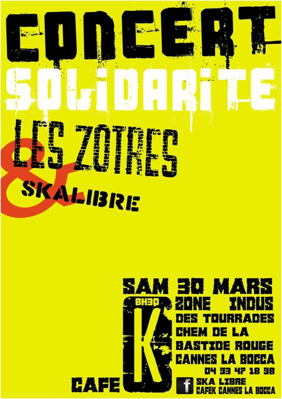 Concert Solidarit SAM 30 MARS au Caf K  Cannes la Bocca